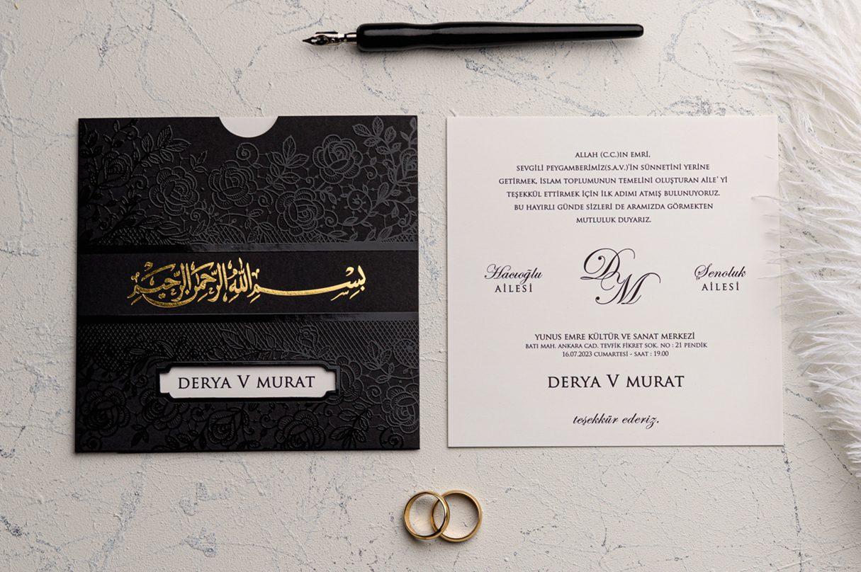 faire part mariage oriental noir finition doree