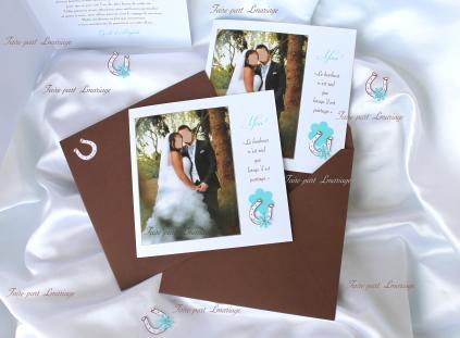 Carte de remerciement mariage équitation/fer à cheval