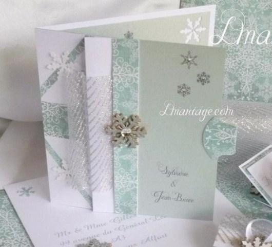 carte d'invitation mariage flocon