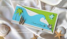 Faire-part thème des îles et lagons. Avec ses tortues de mer en ivoire, vert et turquoise