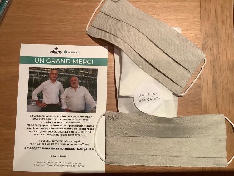 Cadeau de MiiMosa et la filière lin pour mon investissement de 250€ dans leur projet.