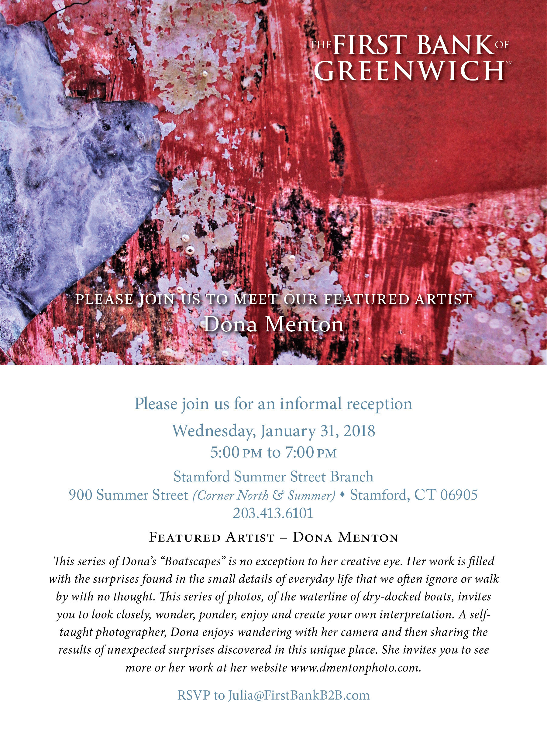 Artist Reception - Dona Menton at First Bank of Greenwich Stamford Branch