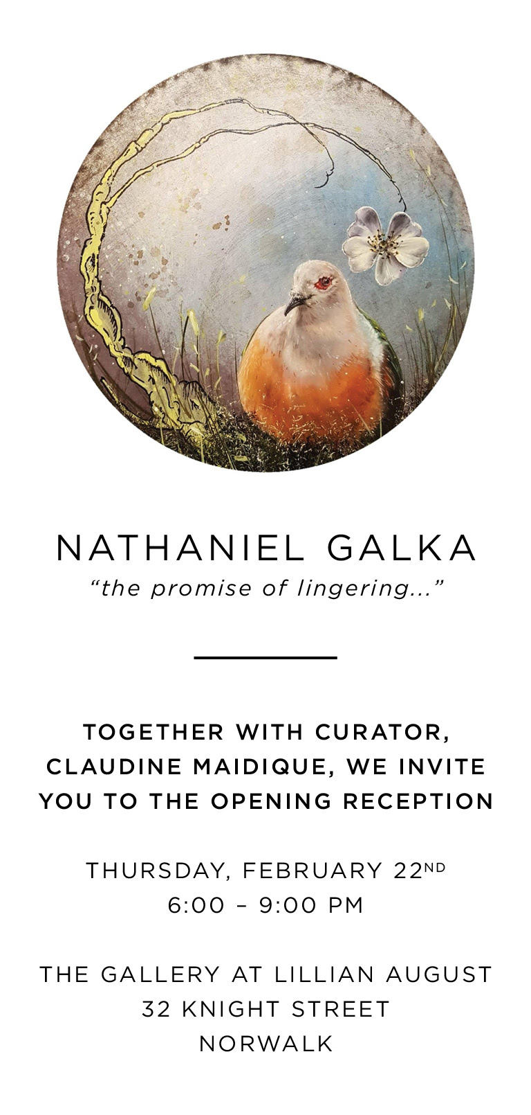 Opening Reception of Nathaniel Galka: The Promise of Lingering at Lillian August
