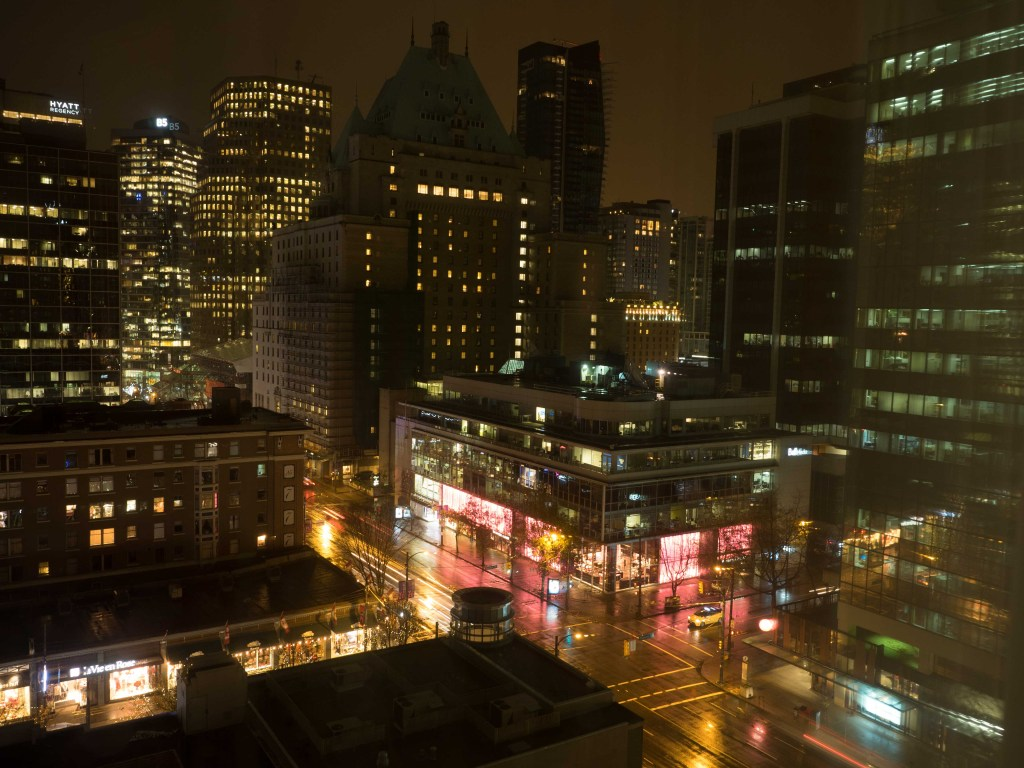 Night view of downtown Vancouver British Columbia