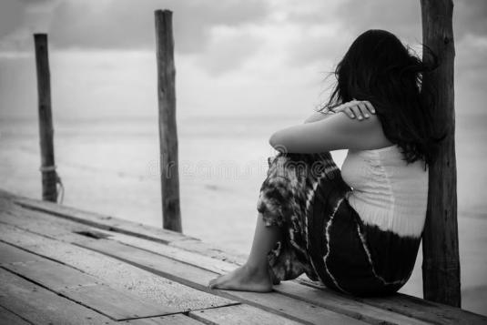 black-white-sad-lonely-woman-sitting-alone-black-white-sad-lonely-woman-sitting-alone-wooden-bridge-119292532