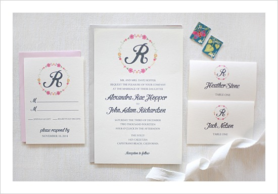 Floral Monogram Wedding Invitation Suite by Wedding Chicks - Fairly Southern