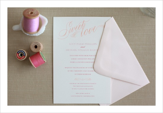 Sweet Love Wedding Invitation Suite by Wedding Chicks - Fairly Southern