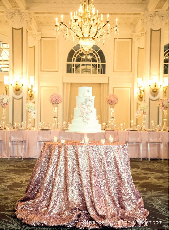 Rose Gold Sequined Cake Table - Fairly Southern