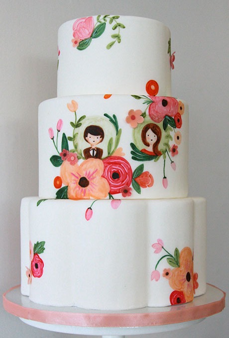 Personalized, Hand-Painted Floral Wedding Cake Featuring Bride and Groom Motifs - Fairly Southern