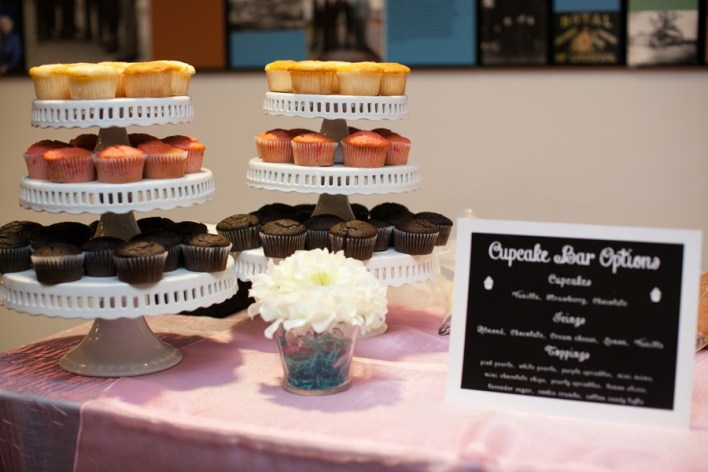 Cupcake Bars: The Latest Innovation in Wedding Cakes! Guests choose the cupcake flavor and icing flavor they want, then decorate their cupcakes with various toppings. An entertaining (and delicious!) wedding cake idea! - Wedding Belles Blog