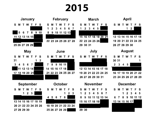 Wedding Blackout Dates for 2015, via Crabby Bride   Fairly Southern