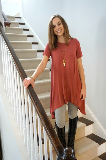 Fair trade amulet necklace + made in the USA Annabelle top + Free People leggings from Poshmark | Fairly Southern