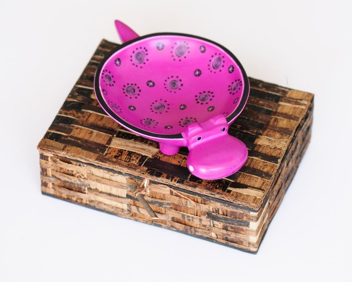 Pink Hippo Mini Soapstone Dish by Amani ya Juu - Fair Trade Home Goods made by artisans in Africa - Kids' decor |  Fairly Southern
