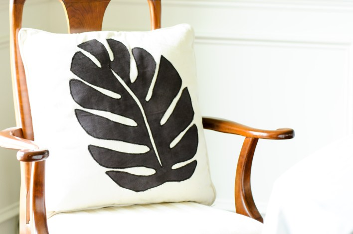 Leaf Pillow Black and White by Amani ya Juu - Fair Trade Home Goods made by artisans in Africa  |  Fairly Southern