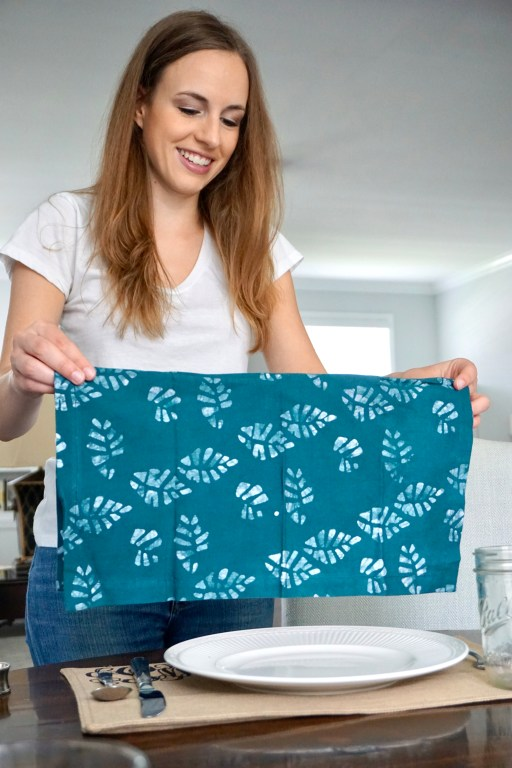 Teal batik napkin by Amani ya Juu - fair trade home goods made by artisans in Africa     Fairly Southern