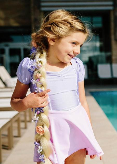 Jessica Rey Swimwear purple and pink kids' swim dress  |  Sustainable and Ethically Made Swimwear for Women, Men, and Kids  |  Fairly Southern