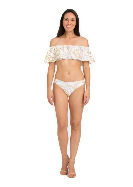 Tara Grinna gold and white bikini  | Sustainable and Ethically Made Swimwear for Women, Men, and Kids | Fairly Southern