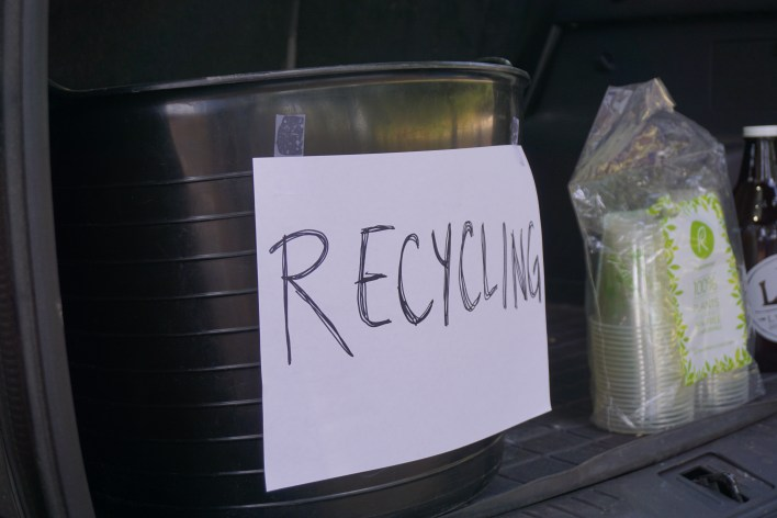 Tailgate recycling bin - How to Have an Eco-Friendly Tailgate - sustainable tailgating tips!  |  Fairly Southern