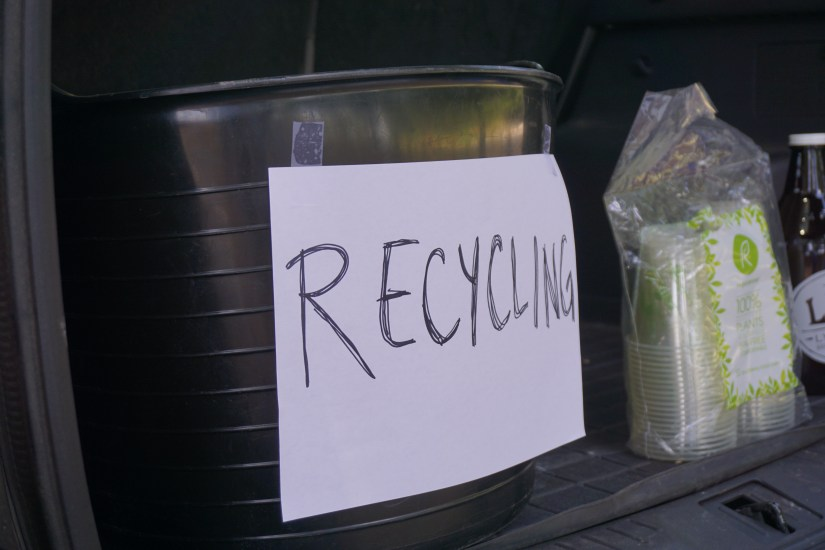 Tailgate recycling bin - How to Have an Eco-Friendly Tailgate - sustainable tailgating tips!     Fairly Southern