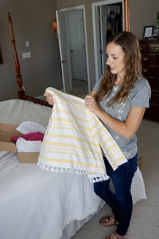 Yellow and white blaser - Reclaimed Clothes Box: The Sustainable Stitch Fix Alternative!  |  Fairly Southern