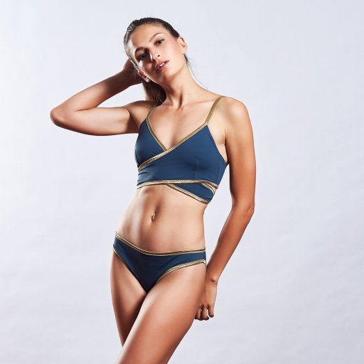 MYMARINI navy and gold bikini - Sustainable and Ethically Made Swimwear Shopping Guide for Women, Men, and Kids  |  Fairly Southern