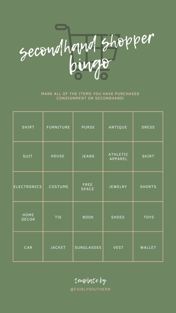 Secondhand Shopper Instagram Bingo Template  |  Fairly Southern