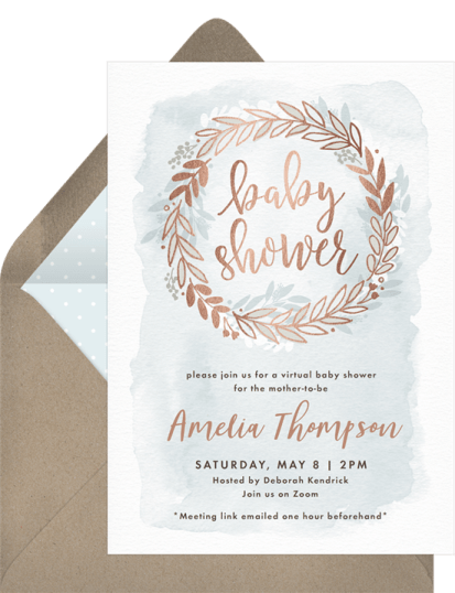 Rose Gold Wreath virtual baby shower invitation by Greenvelope | Fairly Southern