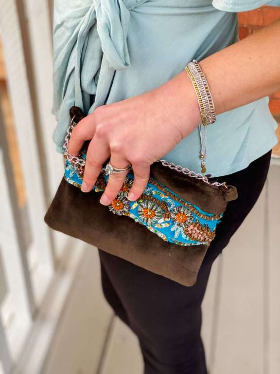 Upcycled Embroidered Velvet Purse - Ethical and Sustainable Valentine's Day or Date Night Outfit | Fairly Southern