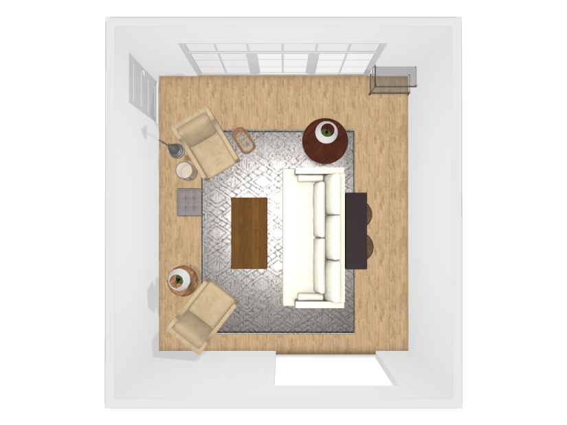 Socially conscious living room layout space planning by Kelly Butler of Gratify Home | Fairly Southern