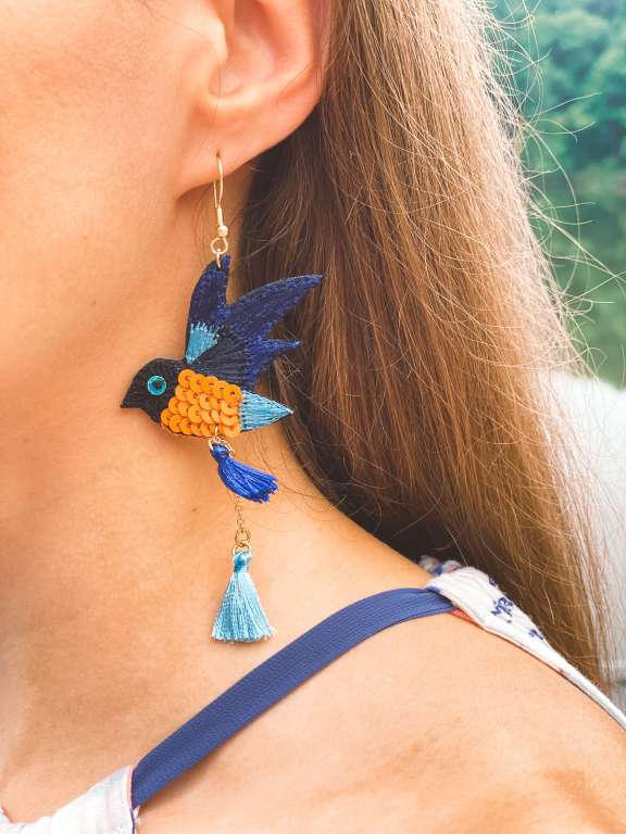 Bird Song Dangle Earrings - Vacation Outfit Inspiration | Belle + Blossom Review: Fair Trade, Sustainable Accessories and Lifestyle | Fairly Southern
