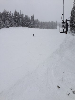 Riding the Challenger chair next to the Sleeper ski run.