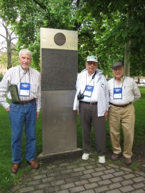 Our vets at the monument: Tome, Bill, and Bob. (Vet John and his son left the tour in Belgium as planned.)