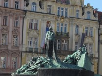 Statue of martyr Jan Hus. We encounter evidence of Protestant/Catholic historical strife throughout our entire trip.