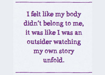 "Dissociation quote from mental health charity Mind: ""I felt like my body didn't belong to me"""