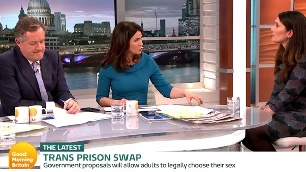 Trans Prison Swap on Good Morning Britain. Dr Nicola Williams discusses transgender women in prison with Piers Morgan and Susanna Reid. FairPlayForWomen.com