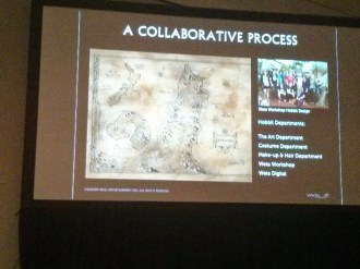 The started the presentation emphasizing how collaborative the process was and ultimately, Peter Jackson would have to approve every detail.