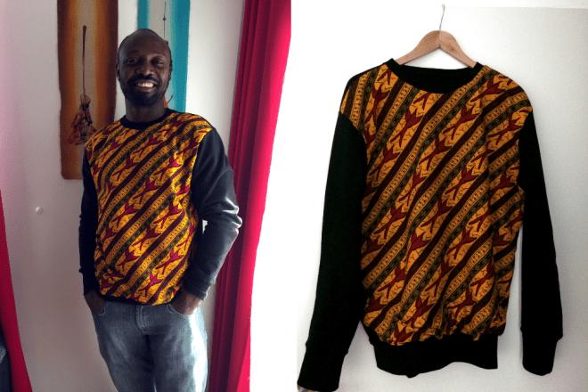 Sweater für Männer aus Biobaumwolle mit Elementen von Afrikanischem Wax Print Stoff