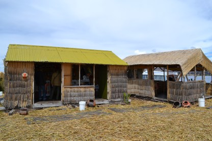 A typical Uros dwelling - predominantly reeds and a simple roof