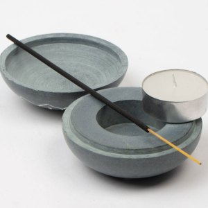 Stone Candle & Incense Holder