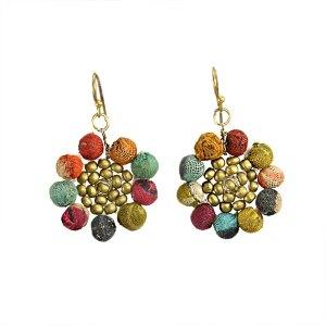 Kantha Sunflower Earrings