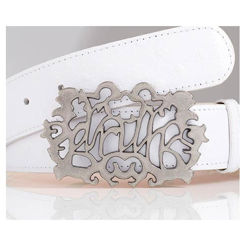 Druh White Leather Ostrich Pattern Belts w/ Druh Buckle - $125
