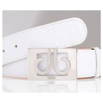 Druh White Leather Ostrich Pattern Belts w/ See-Through Buckle - $125