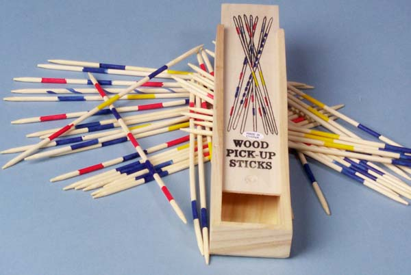 Wood Pick-Up Sticks in Wooden Box   3-4059