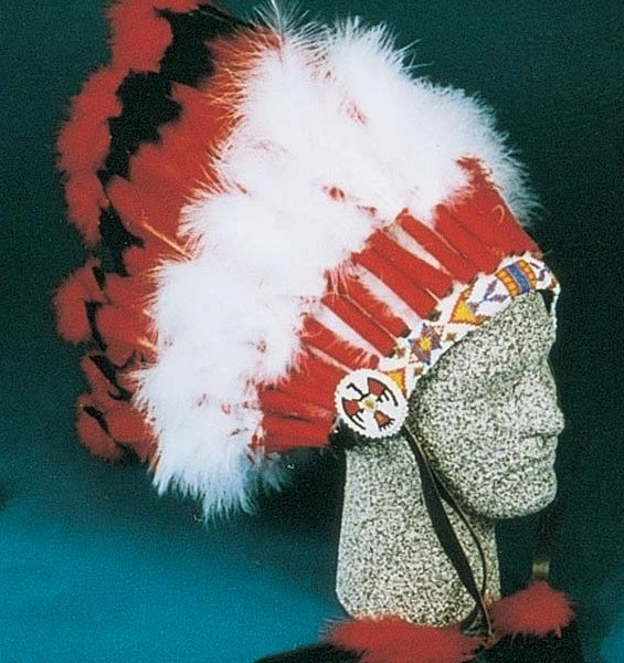 Ceremonial Headdress. 29 Feather with Beaded Front   6-9230