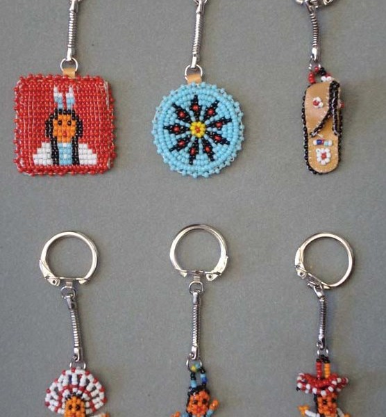 Beaded Native American Design Key Chains   8-824