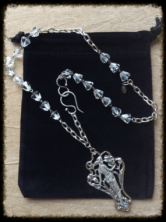 """Vintage Sterling Silver Art Nouveau Figural Woman Pendant Necklace, Vintage Czechoslovakian Crystals, Hand~Forged, Sterling Silver Hook & Eye Closure and Vintage Designer Chain. 17"""" Length. Arrives in a Black Velvet Bag. Comes with Matching Earrings. #133"""