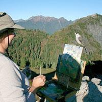 Visiting art patron- a birdie- with Melissa Jander
