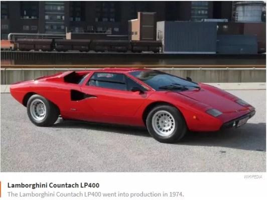 Lamborghini Countach LP 400 went in production 1974