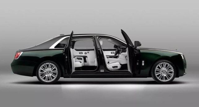 2021 Rolls Royce Ghost Extended green black colored with both gates open