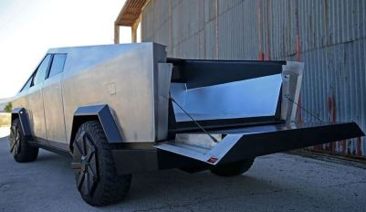Tesla Cyber Truck Replica with Gasoline engine rear view with tail gate